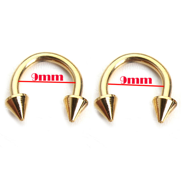 10pcs Gold Silver Stainless Steel Circular Arrow Horseshoe Nose Ring