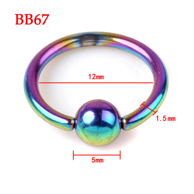 1 Piece Stainless Steel Curved Eyebrow Nose Lip Nipple Bead Ring