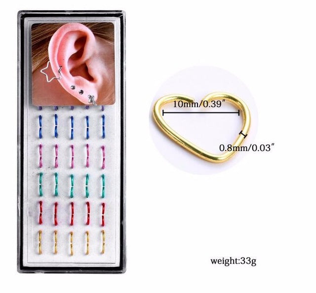 40pcs/pack Heart Star Shape 316L Stainless Steel Earrings Nose Lip