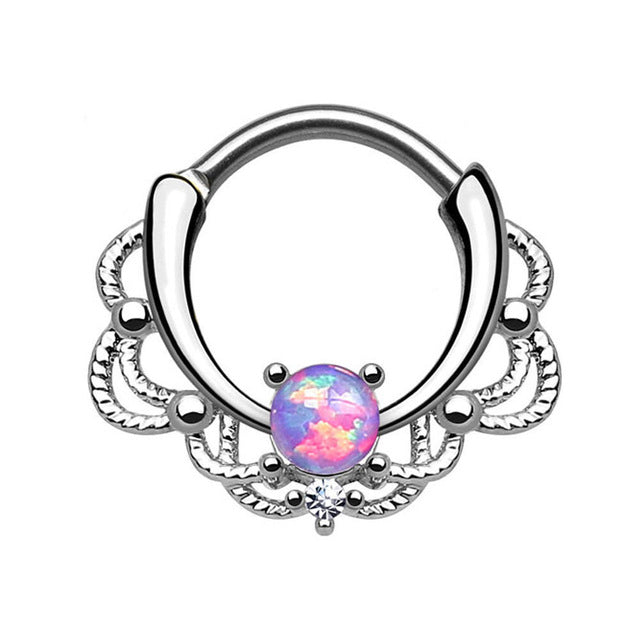 16G 1.2mm Opal Gem Septum Rings G23 Titanium Piercing Nose Hot Opal