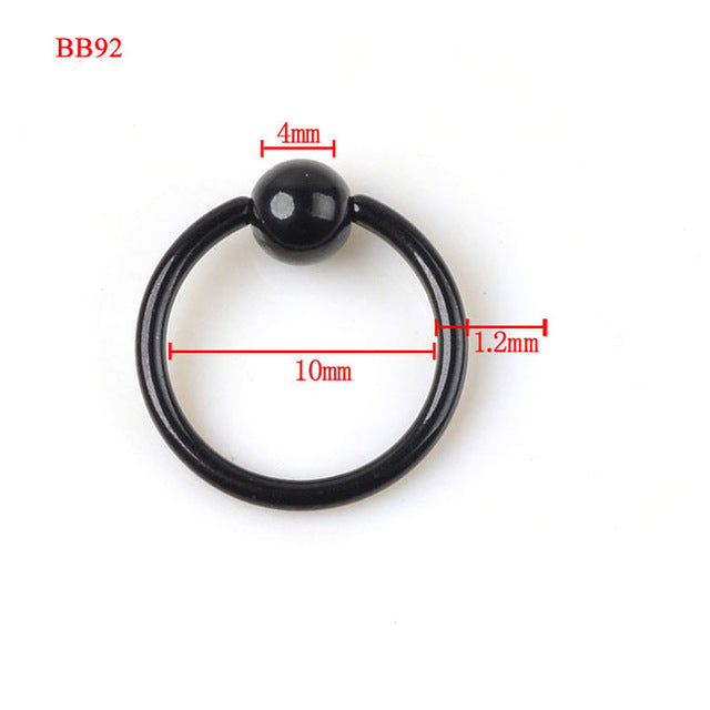 1PC Surgical Stainless Steel Black Eyebrow Nose Lip Labret Ear Ring