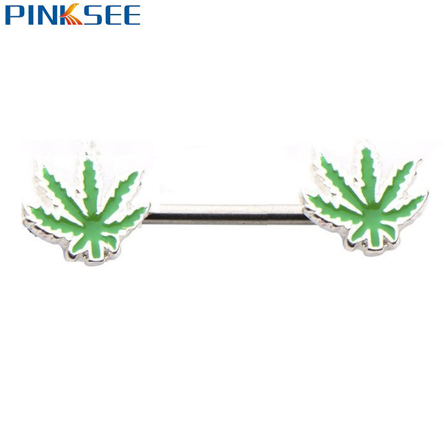 1 PC Gauge Maple Leaf Weed Logo Nipple Barbell Ring Mens Womens