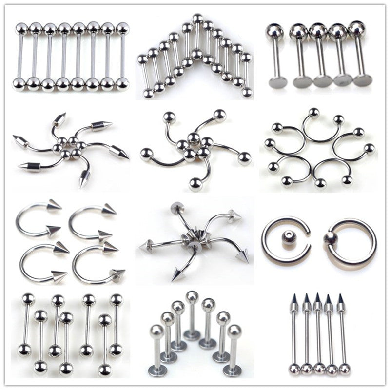 10pcs Surgical Stainless Steel Eyebrow Nose Lip Captive Ring Tongue