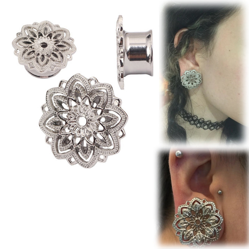 1 Pair Stainless Steel  Ear Tunnel Hollow-out flower Plugs Gauges