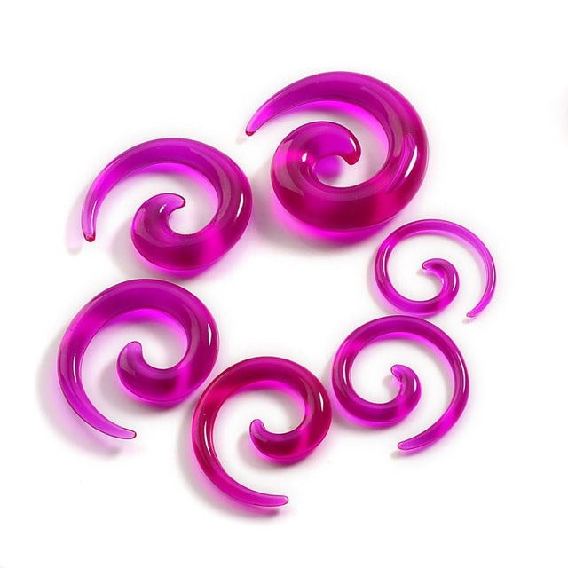 12pcs Chic Spiral Ear Taper Gauge Acrylic Ear Plug Expander