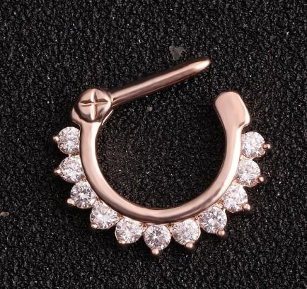 1 PC High Quality Hot Unique 1.2*10mm Zircon Aztec Septum Clicker Nose