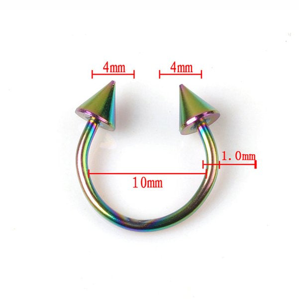 2pc Cone Spike Horseshoe Circular Ring 316L Surgical Steel Labret