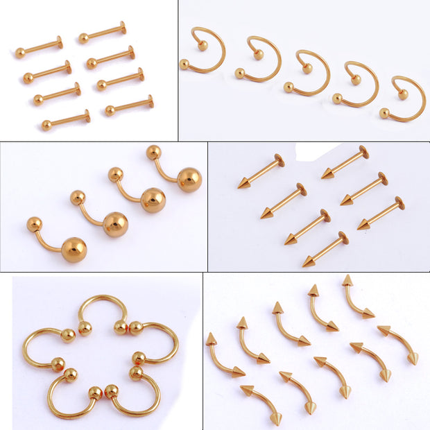 2 Pcs/Lot 10 Style Design Gold Surgical Steel Eyebrow Navel Belly