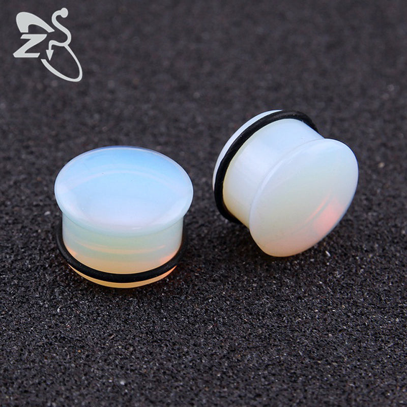 5~18mm Opalite Plugs and Tunnels Natural Stone Ear Expander O-ring Ear