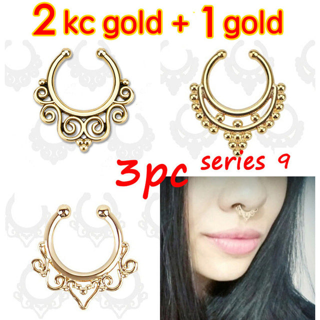 3PC crystal fashion clicker fake septum For Women Body Clip Hoop