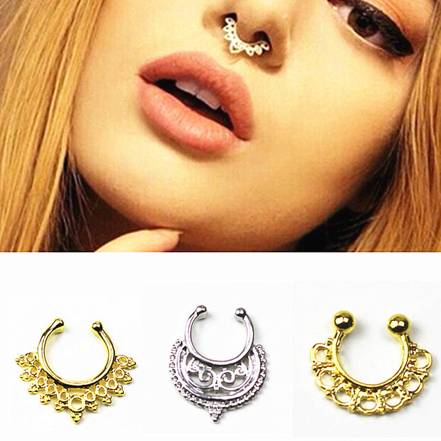 new Gold Silver Color Piercing nose ring Hoop nose For Women faux clip