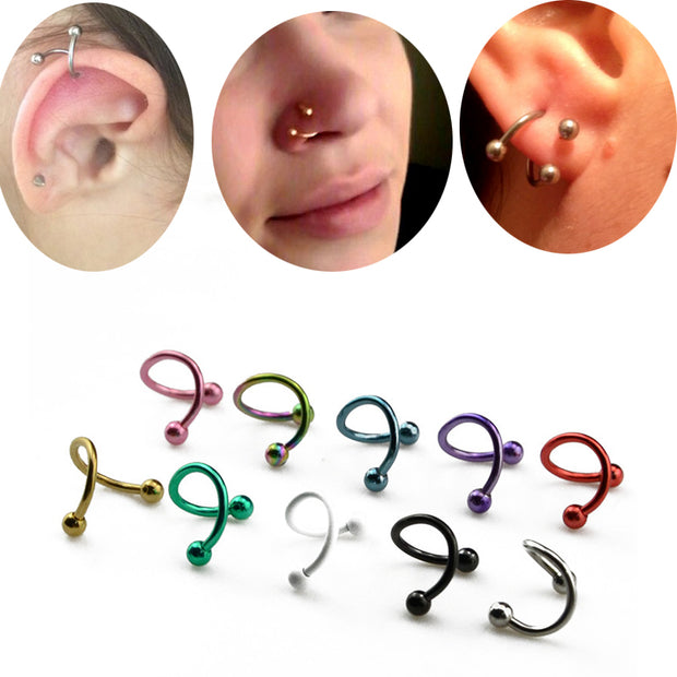 2Pcs S Shape Surgical Steel Spiral Twisted Lip Ring Nose Rings 16