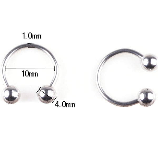 1PC 316L Stainless Steel Horseshoe Bar Lip Nose Hoop Septum Ear Ring Belly Button 1.2G 8/10mm Body Piercing Jewelry