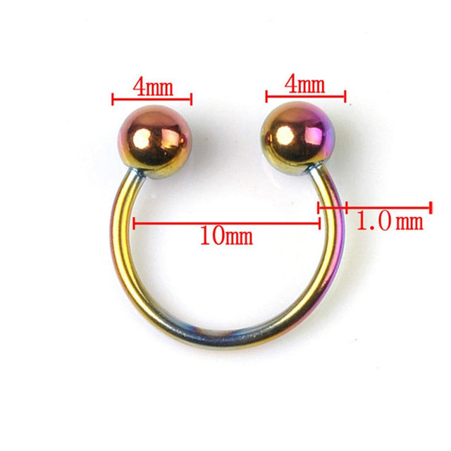 1PC 316L Stainless Steel Horseshoe Bar Lip Nose Hoop Septum Ear Ring