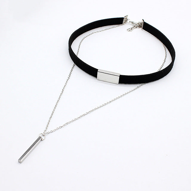 2017 New Black Velvet Choker Necklace Strip rope Chain Bar Square tube