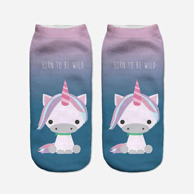 2017 Harajuku 3D Print Unicorn Socks Women Kawaii Ankle Licorne