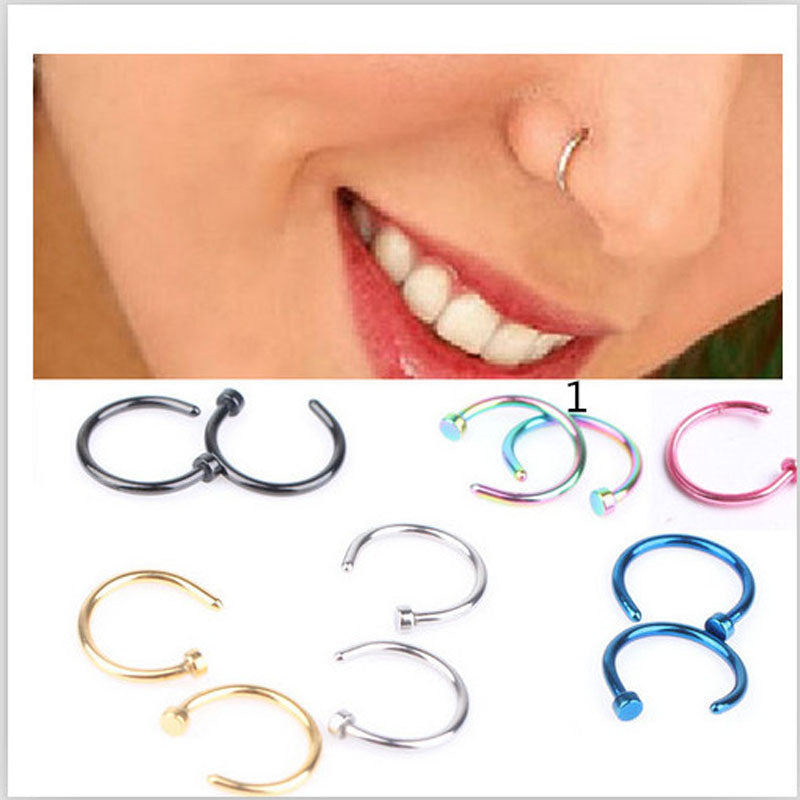1 pcs 7 Colors Piercing Nose Ring  Hoop Circular Ring Labret Nipple