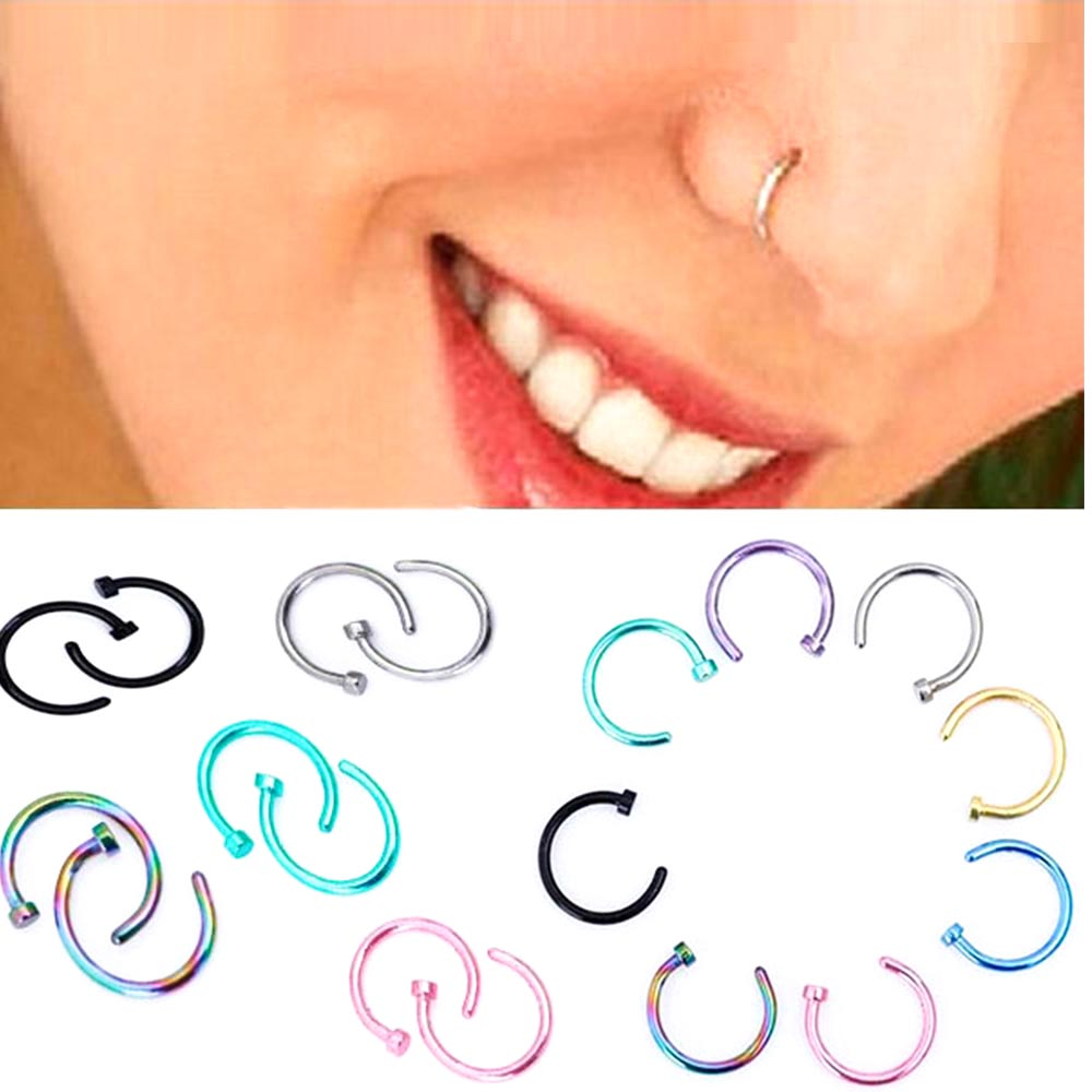 1pcs Medical Nostril Titanium Gold Silver Nose Hoop Nose Rings clip on