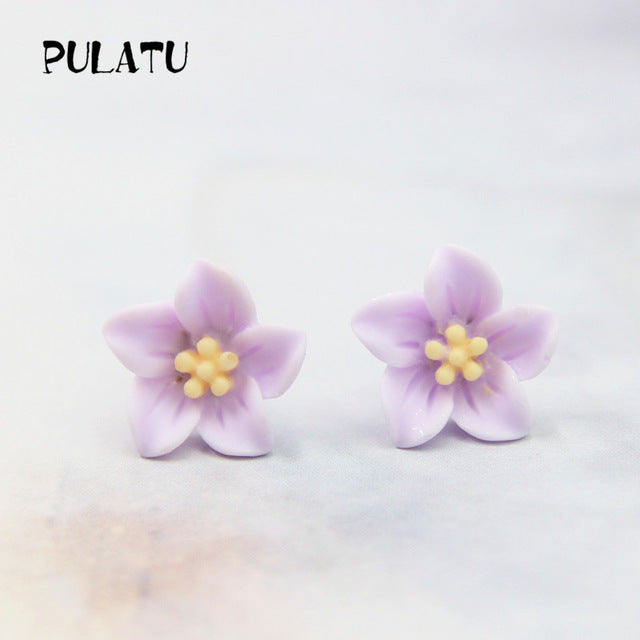 10 Color Flower Stud Earring For Women Resin Minimalist Small Earrings
