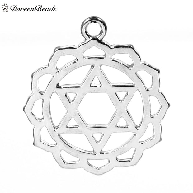 "DoreenBeads Alloy Chakra Pendants dull silver color Heart /Anahata Carved Hollow 31mm(1 2/8"") x 27mm(1 1/8""), 10 PCs  (B75541)"
