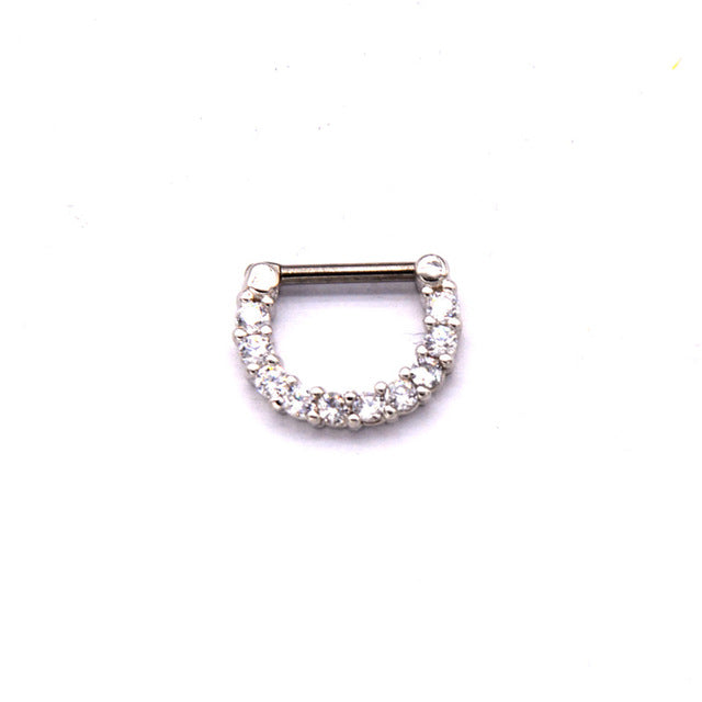 Fashion Septum Clicker CZ Daith Nose Ring Body Piercing Hanger Clip On