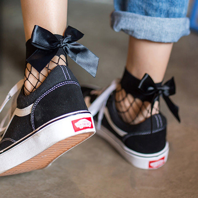 2017 Fashion Cute Women's Harajuku Black Mesh Short Ankle Socks Grid