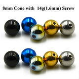 10 pcs/lot Titanium Anodized Stainless Steel Ball Head