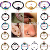 10pcs Captive Bead Ring Ball Hoop Eyebrow Nipple Nose Lip Body