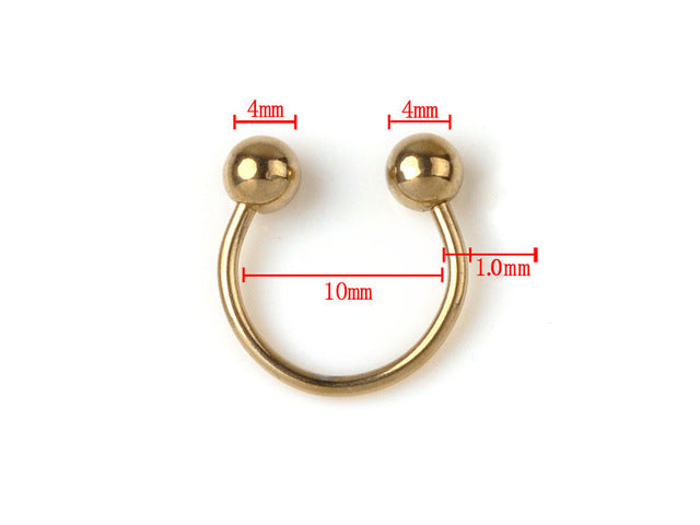2Pcs Gold Stainless Steel Ear Tragus Labret Tongue Bar Belly Lip