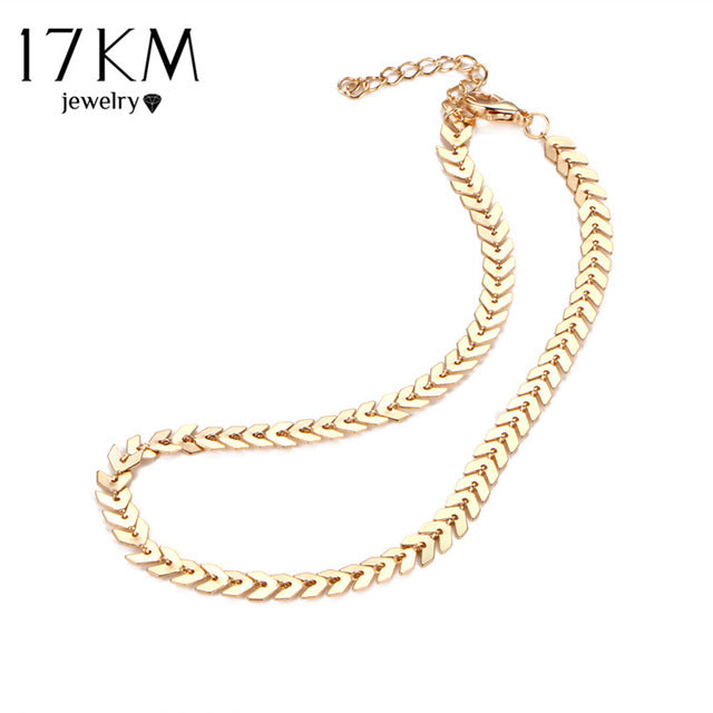 17KM Leaves Chain Sequins Choker Necklace 2017 Fashion Bohemian