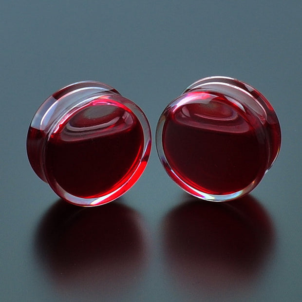 SwanJo 1Pair Red Liquid Blood Ear Gauges Acrylic Ear Plug Earrings