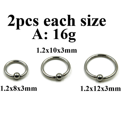 3 Pairs Extra Large Size Surgical Steel Captive Bead Ring Hoop Ring