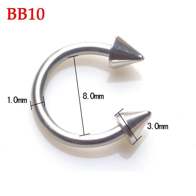 2Pcs Surgical Stainless Steel Tragus Helix Bar Ball Eyebrow Nose Lip