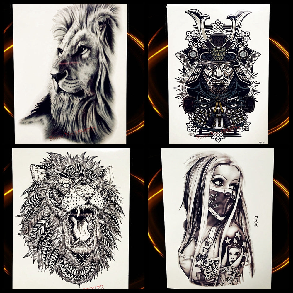Africa Serengeti Lion Temporary Tattoo Indian Tribal Mighty Tatto Sticker Hb577