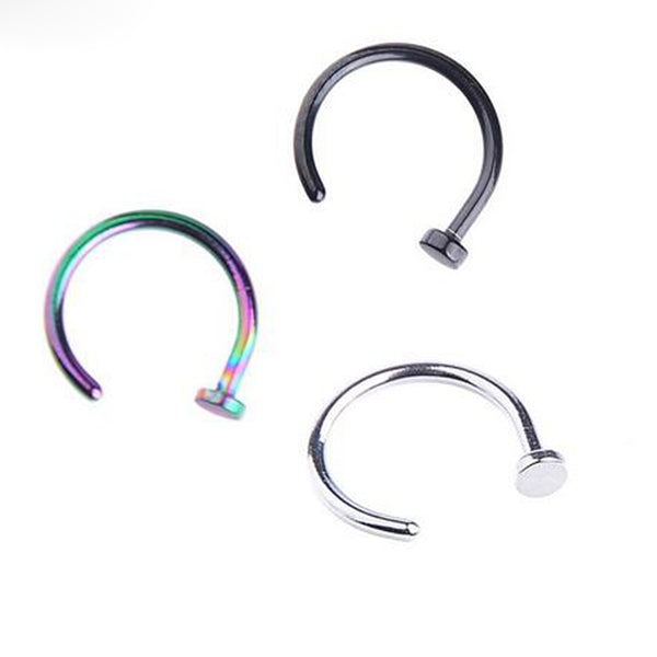 10Pcs/Lot Nostril Stainless Steel Nose Hoop Stud Ring Clip On Nose