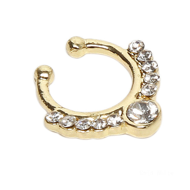 Charming Body Piercing Jewelry Fake Nose Ring Crystal Septum