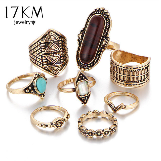 17KM Boho Jewelry Stone Midi Ring Sets for Women Anel Vintage