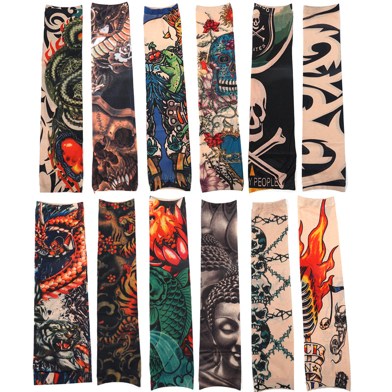 12pcs/Set Fashion Temporary Tattoo Sleeves Outside Hiking Riding