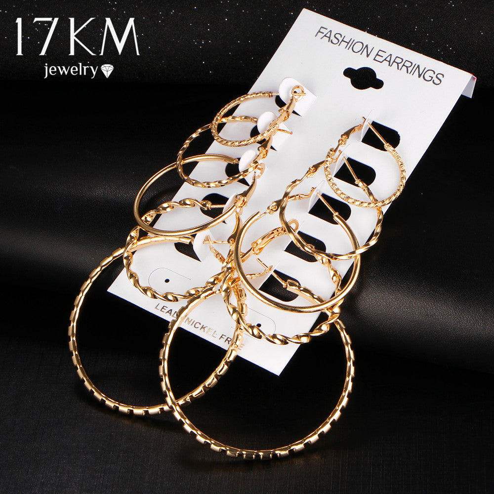 17KM Oversize Gold Color Big Circle Hoop Earrings Set for Women 5