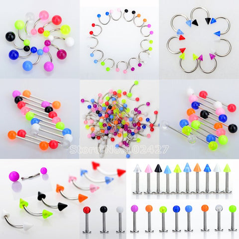45Pcs/Set Mix Acrylic Stainless Steel Eyebrow Navel Belly Lip Tongue