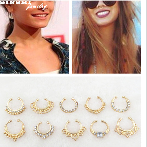 SINSHI 2017Gold Clicker Fake Septum Rings And Studs For Women And