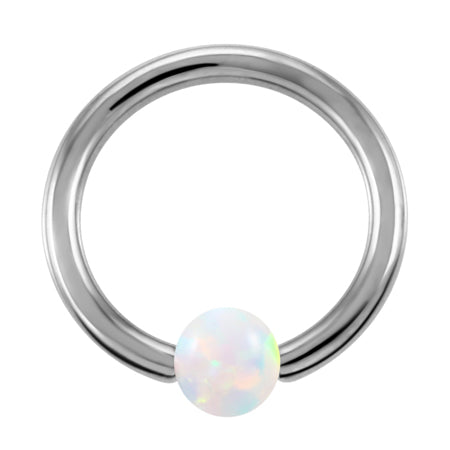 SwanJo G23 Titanium Septum Piercing Nose Ring Opal Ball Closure Nipple