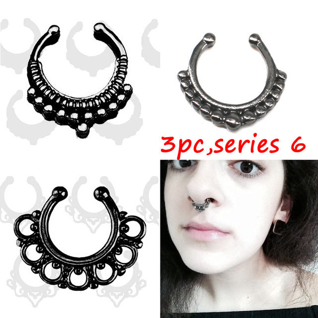 3PCS New fashion crystal Black Fake septum Piercing nose ring Hoop For