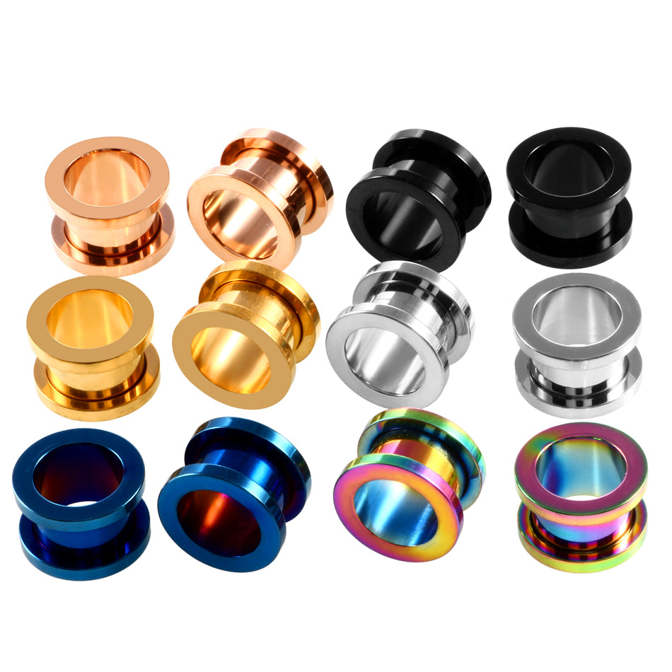 2PCS Steel Screw Ear Plugs and Tunnel Flesh Earring Gauges Hollow
