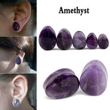 1 Pair Natural Stone Teardrop Ear Plugs Tunnel Shellhard Gauges Ear