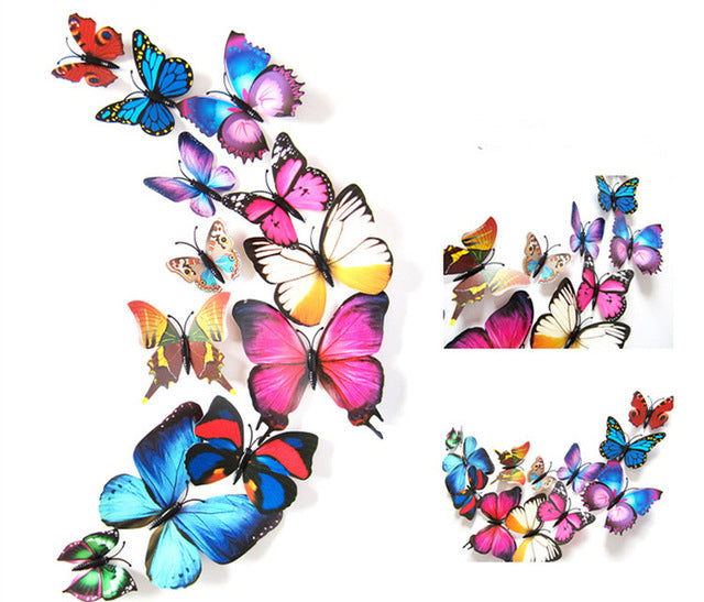 12 Pcs/Lot PVC Butterfly Decals 3D Wall Stickers Home Decor Poster for