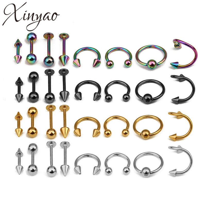 XINYAO 2017 16pcs/lot Surgical Steel Nose Rings Body Piercing For