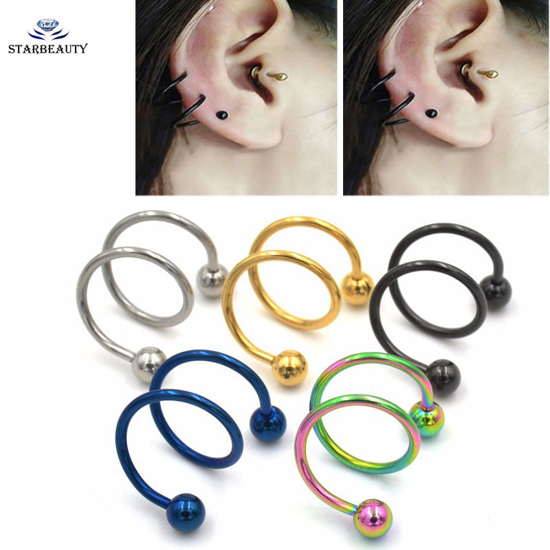 1Pc 16g~1.2mm 5 Color Double Twister Spiral Ear Cartilage Hedix