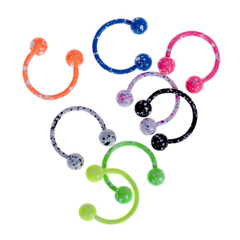 19G Colorful Stainless Steel Horseshoe Nose Septum Lip Ring Eyebrow