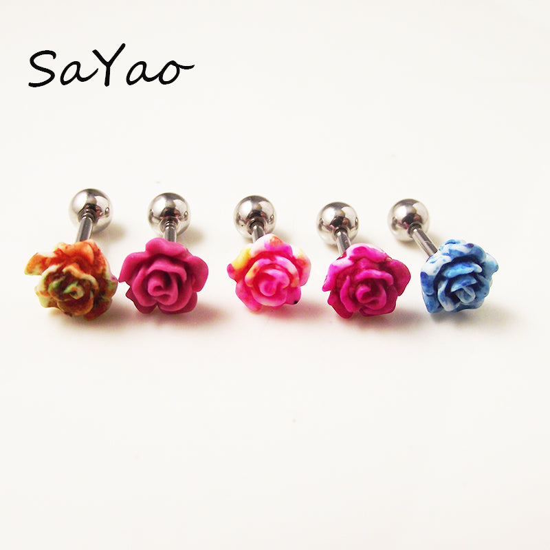 1 piece 16G 6mm Fashion Earring Nail Ear Bone Barbell Rose Flower